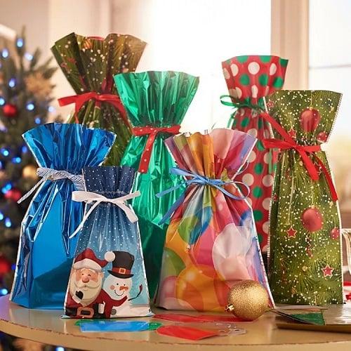 Christmas Drawstring Gift Bag Pack-5pcs